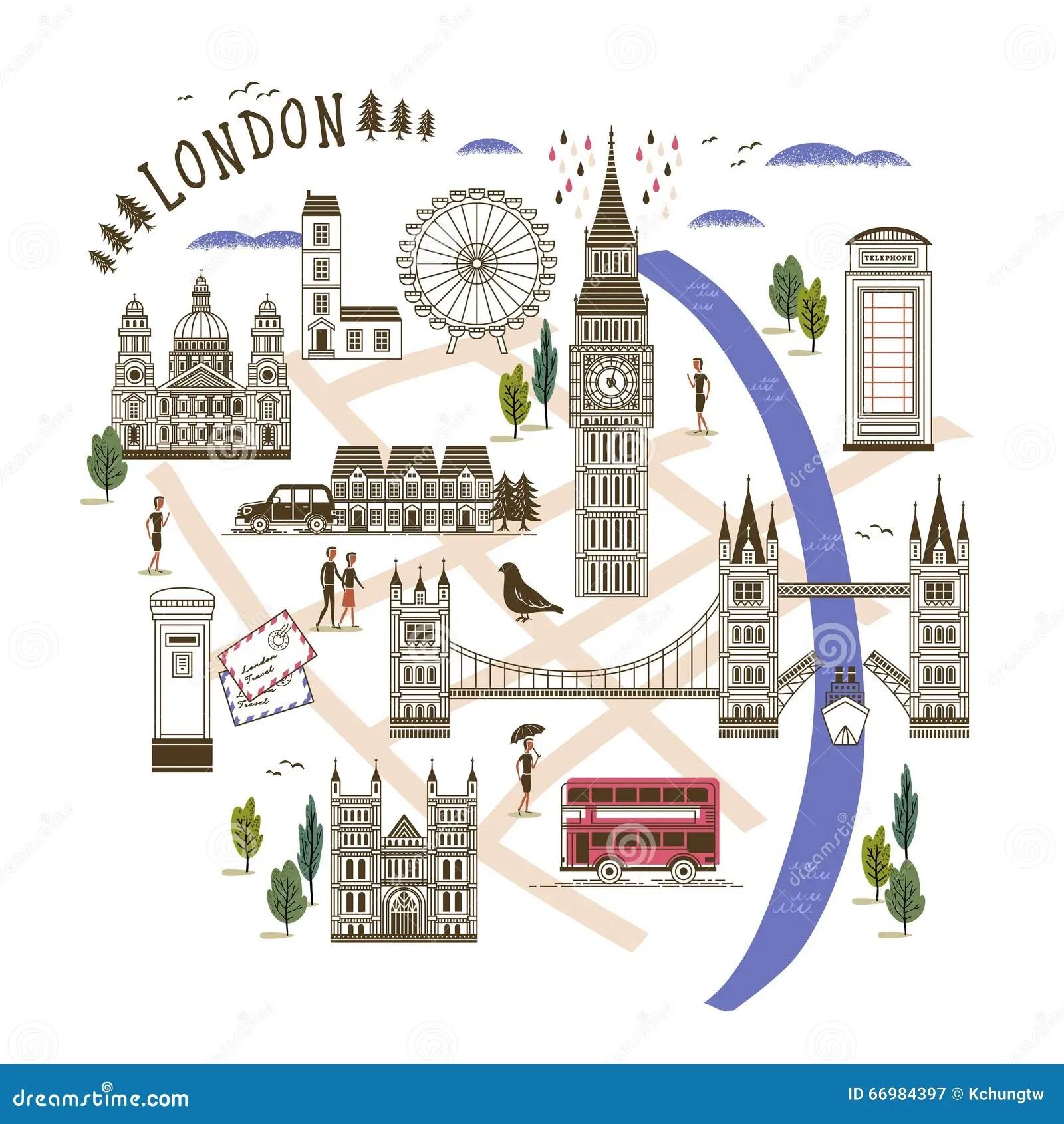 Mappa Di Camminata Di Londra Illustrazione Vettoriale