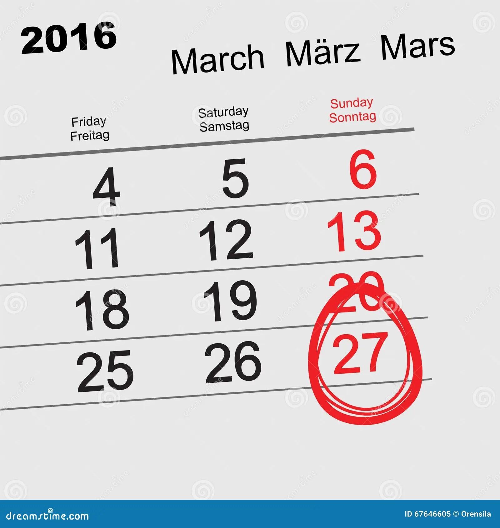 March 27 2016 Catholic Easter Easter Egg Calendar Stock