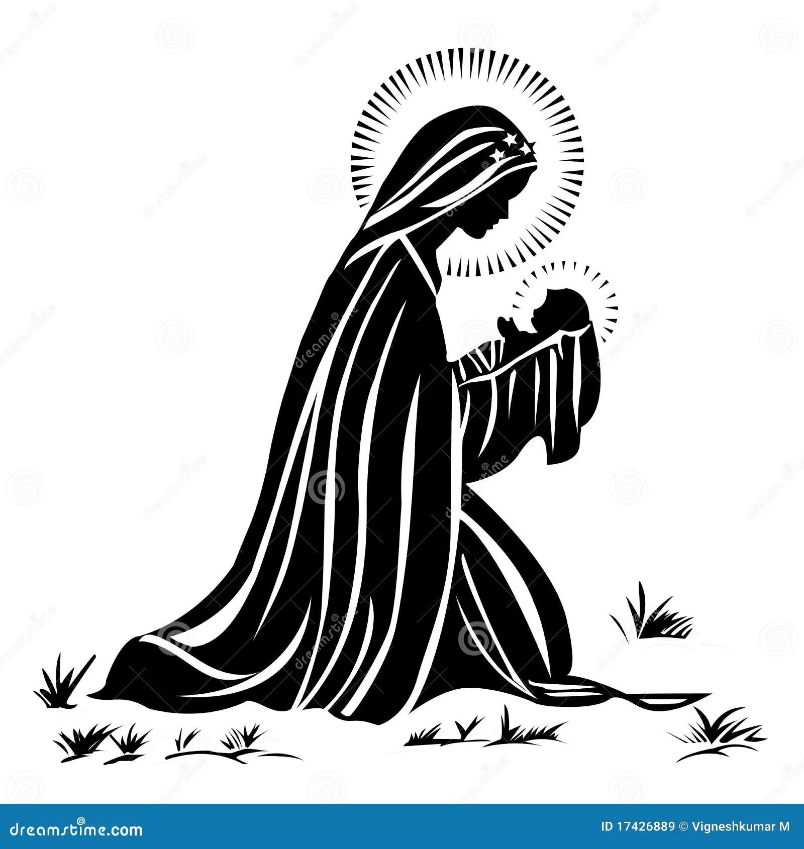 Maria Y Bebe Jesus Ilustracion Del Vector Ilustracion De