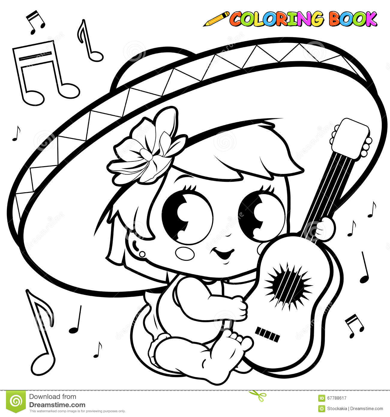 Mariachi Baby Girl Playing The Guitar Coloring Page Stock