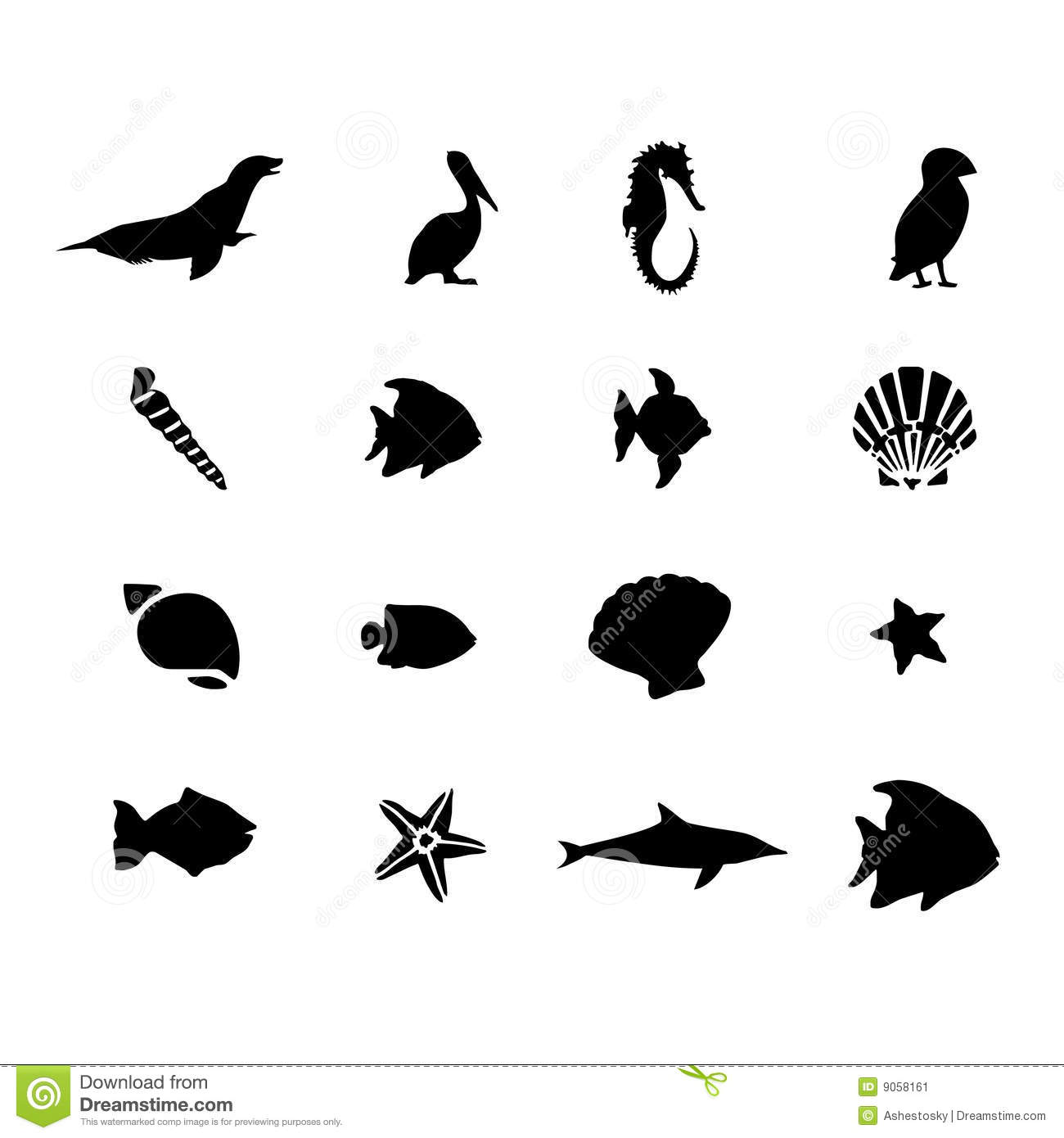 Marine Sea Life Animals Vector Stock Vector