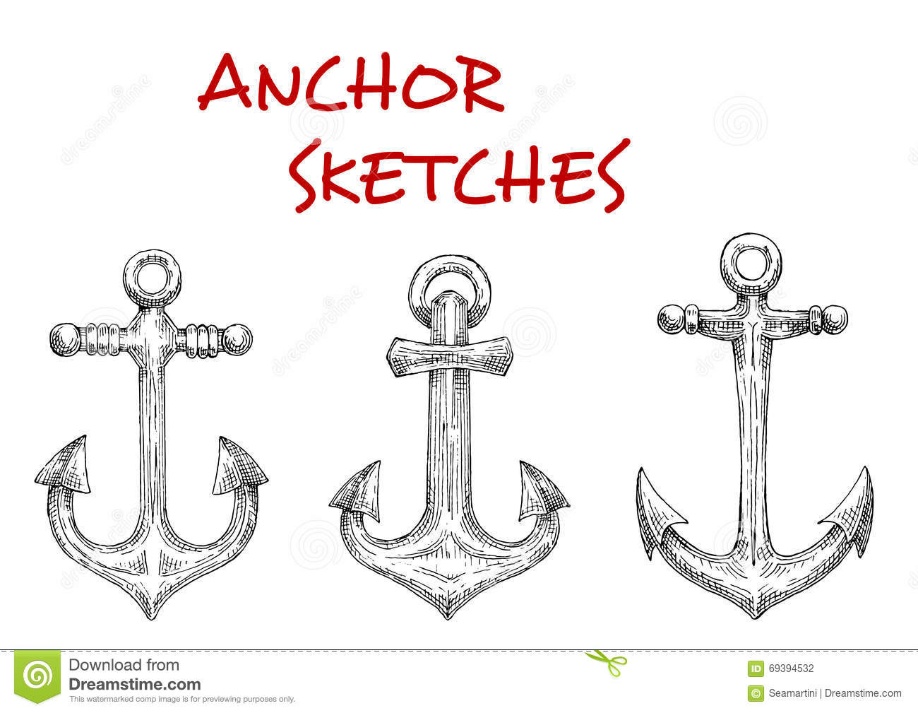 Marine Ship Anchors Isolated Sketches Stock Vector