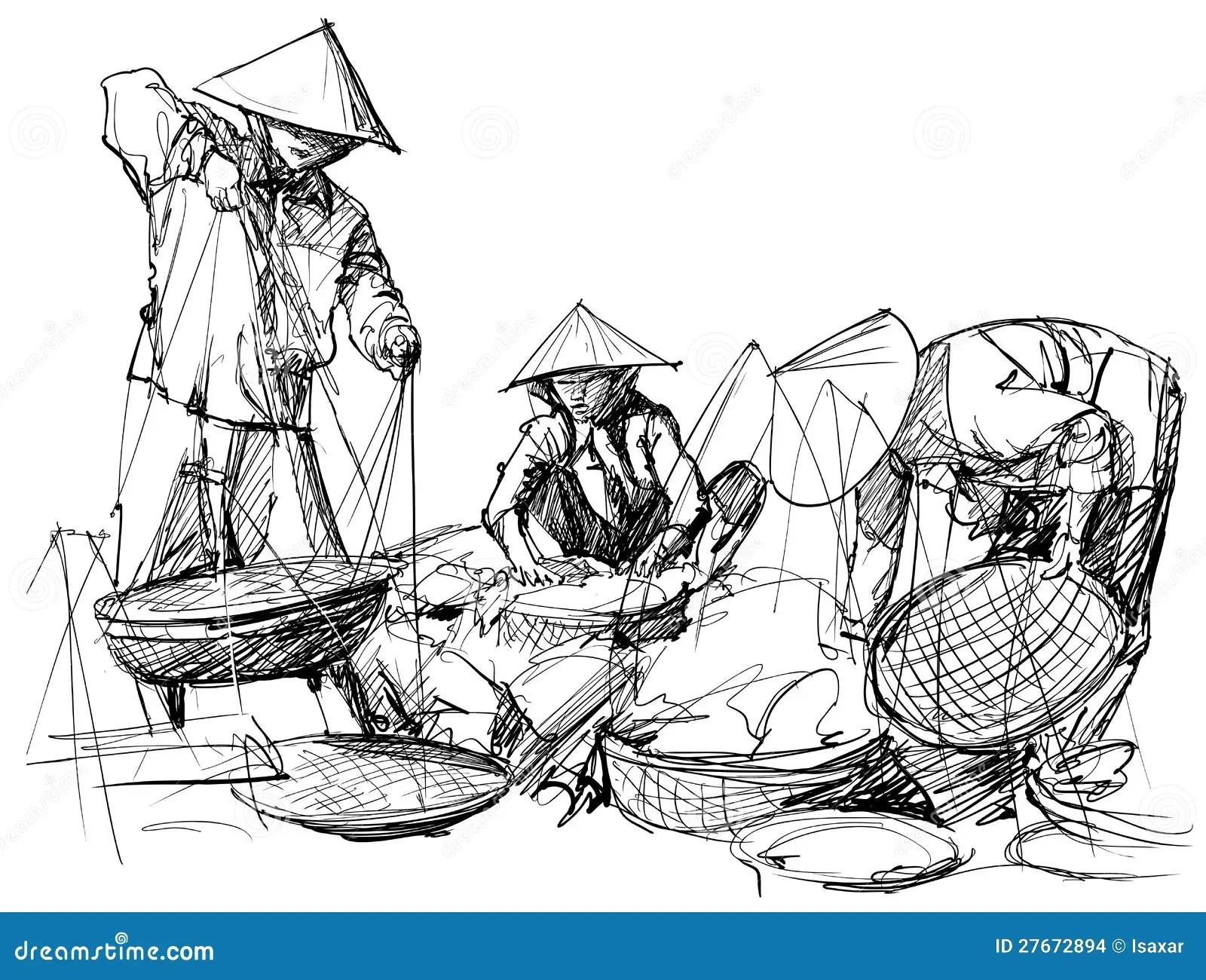 Market Scenery In Vietnam Stock Vector Illustration Of