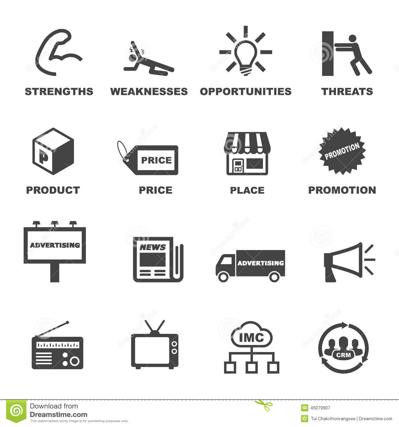 Marketing And Advertising Icons Stock Vector