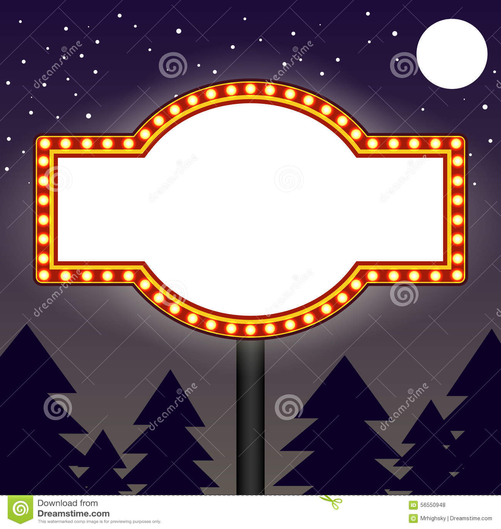Marquee Light Bulbs Billboard At Night Stock Vector