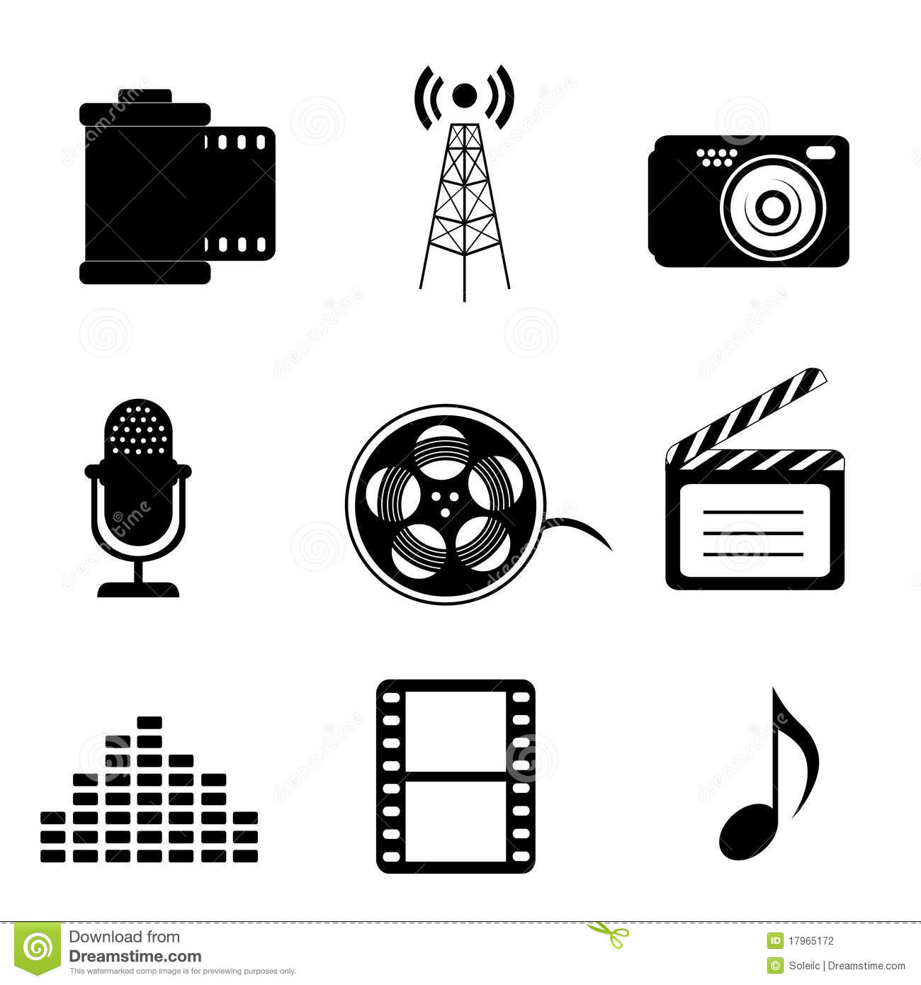Mass Media And Multimedia Icons Stock Photography