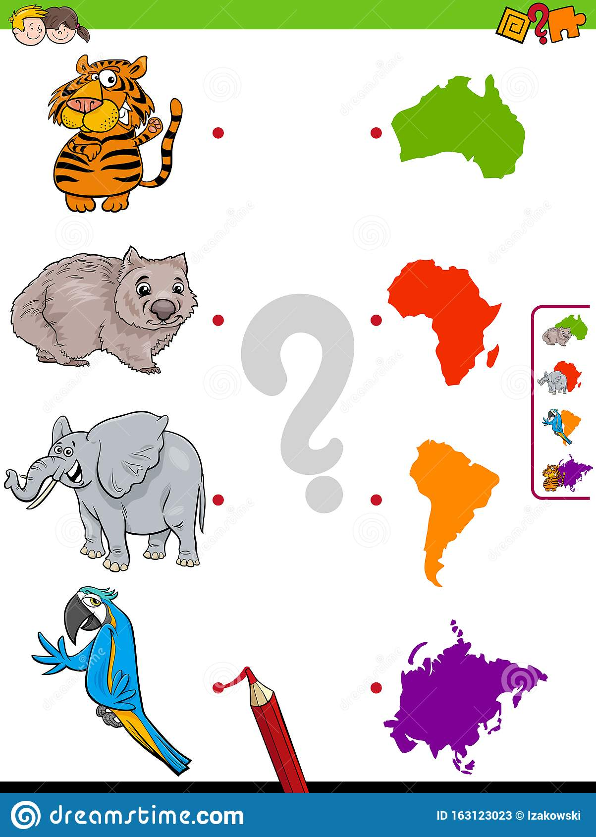 Match Animals And Continents Educational Game Stock Vector