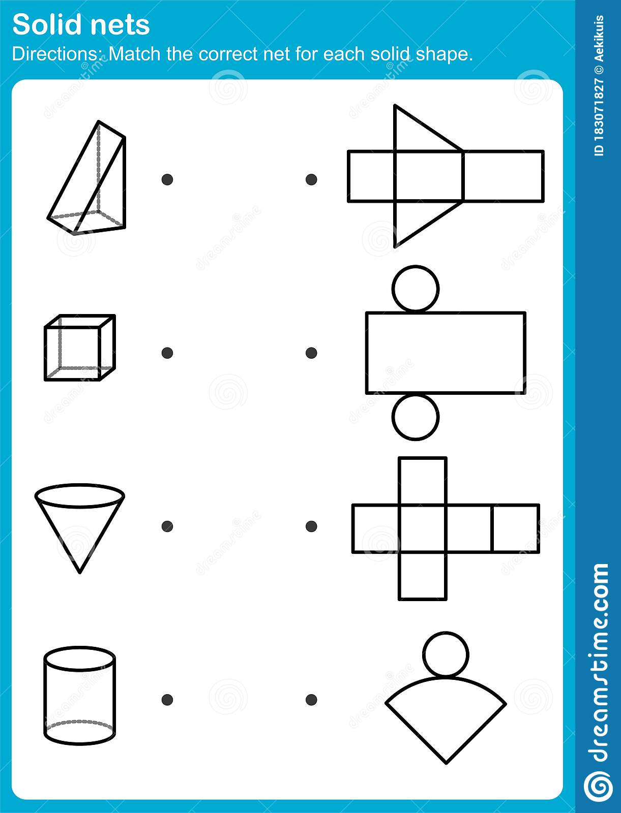 Match The Correct Net For Each Solid Shape
