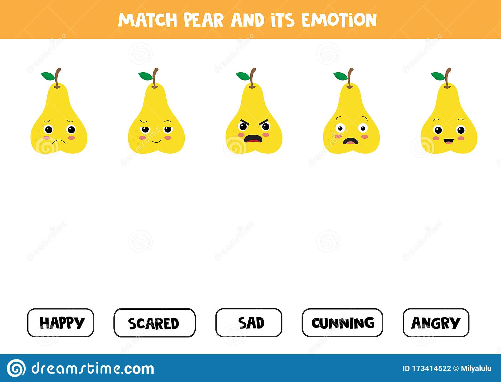 Match Cute Cartoon Pear And Its Emotion Educational Game