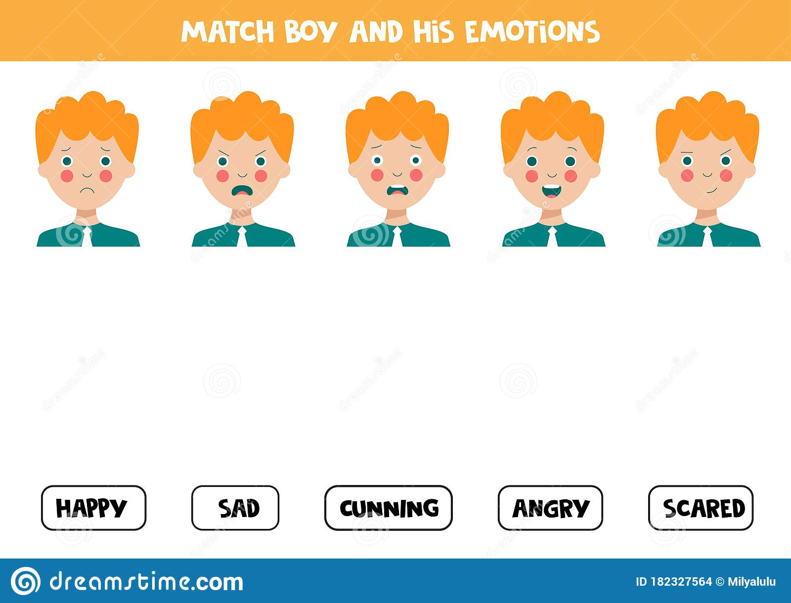 Match Face Expressions Of Boy With Emotions Logical