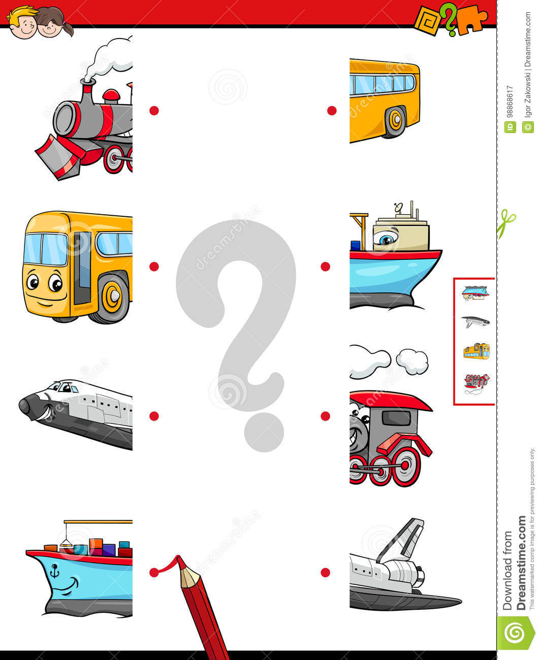 Match The Halves Of Vehicle Characters Stock Vector