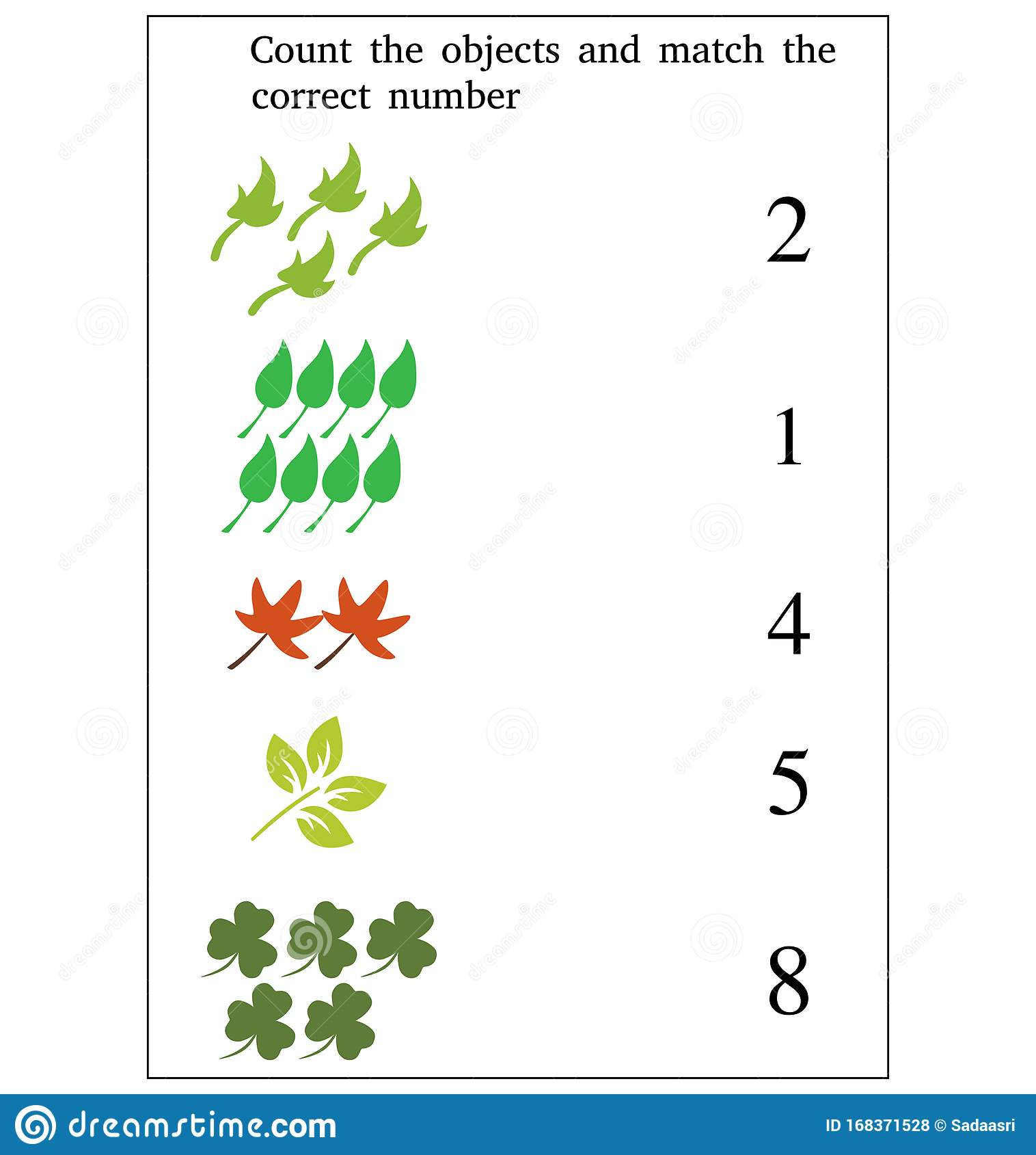 Preschool Worksheet Gallery Matching Number Matching