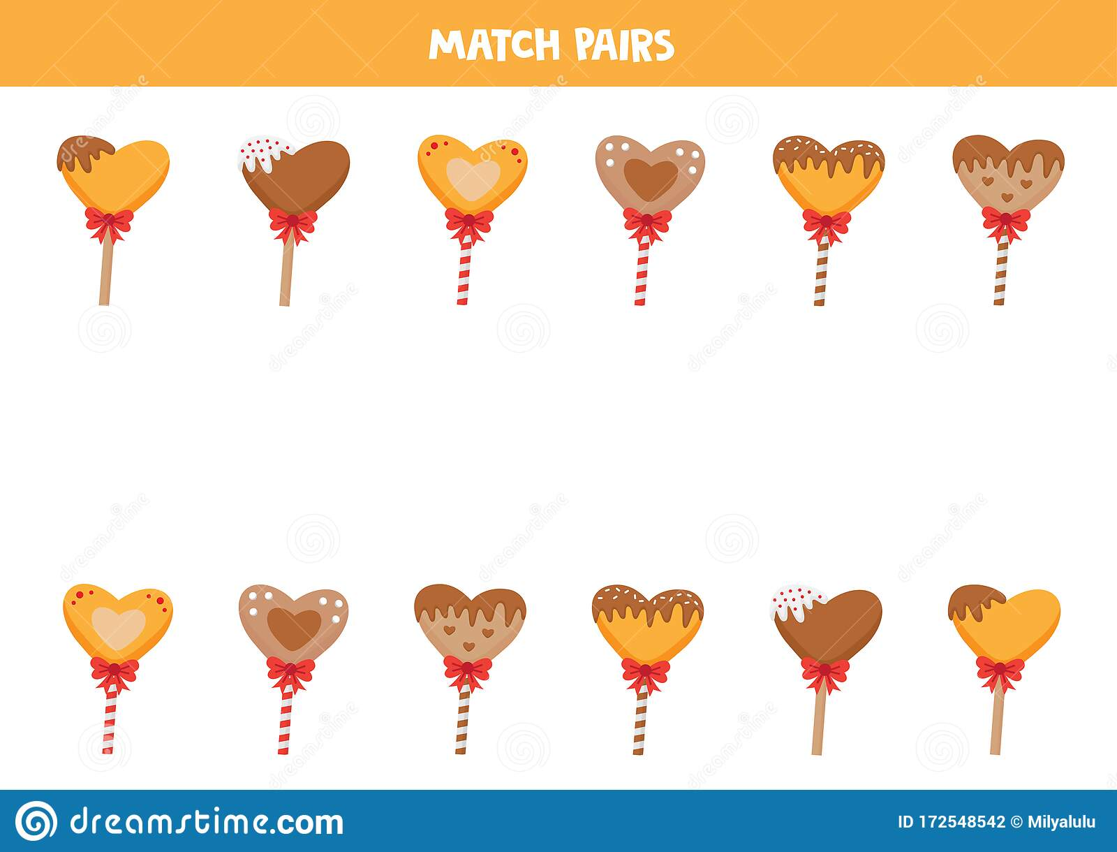 Match Pairs Of Cartoon Heart Lollipops Valentine Day
