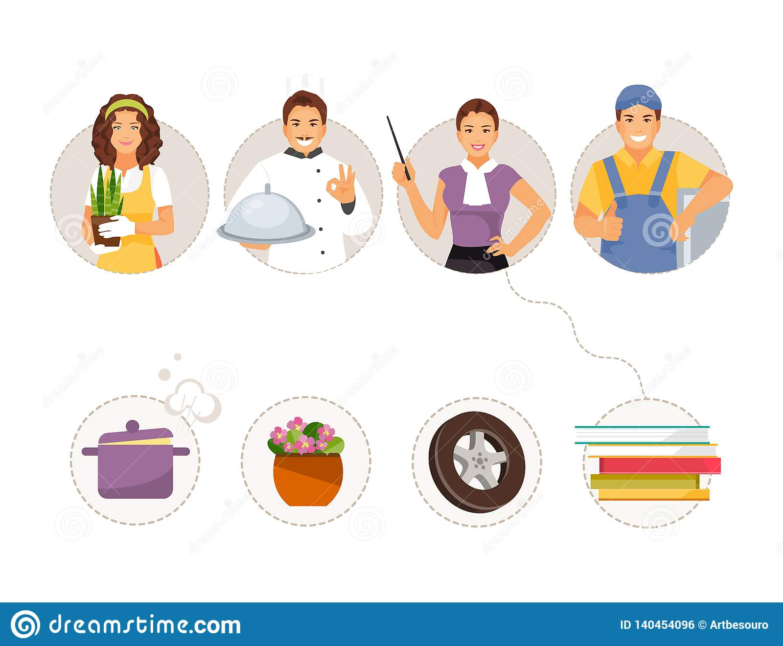 Match Professions And Objects Stock Vector