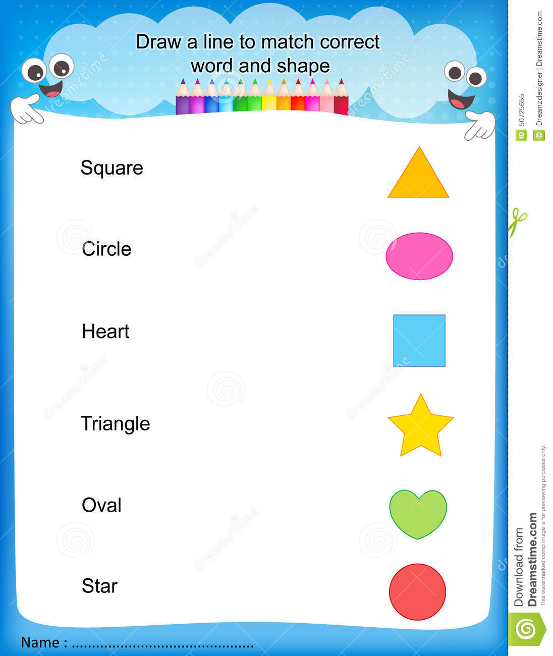 Preschool Shape Worksheet Names
