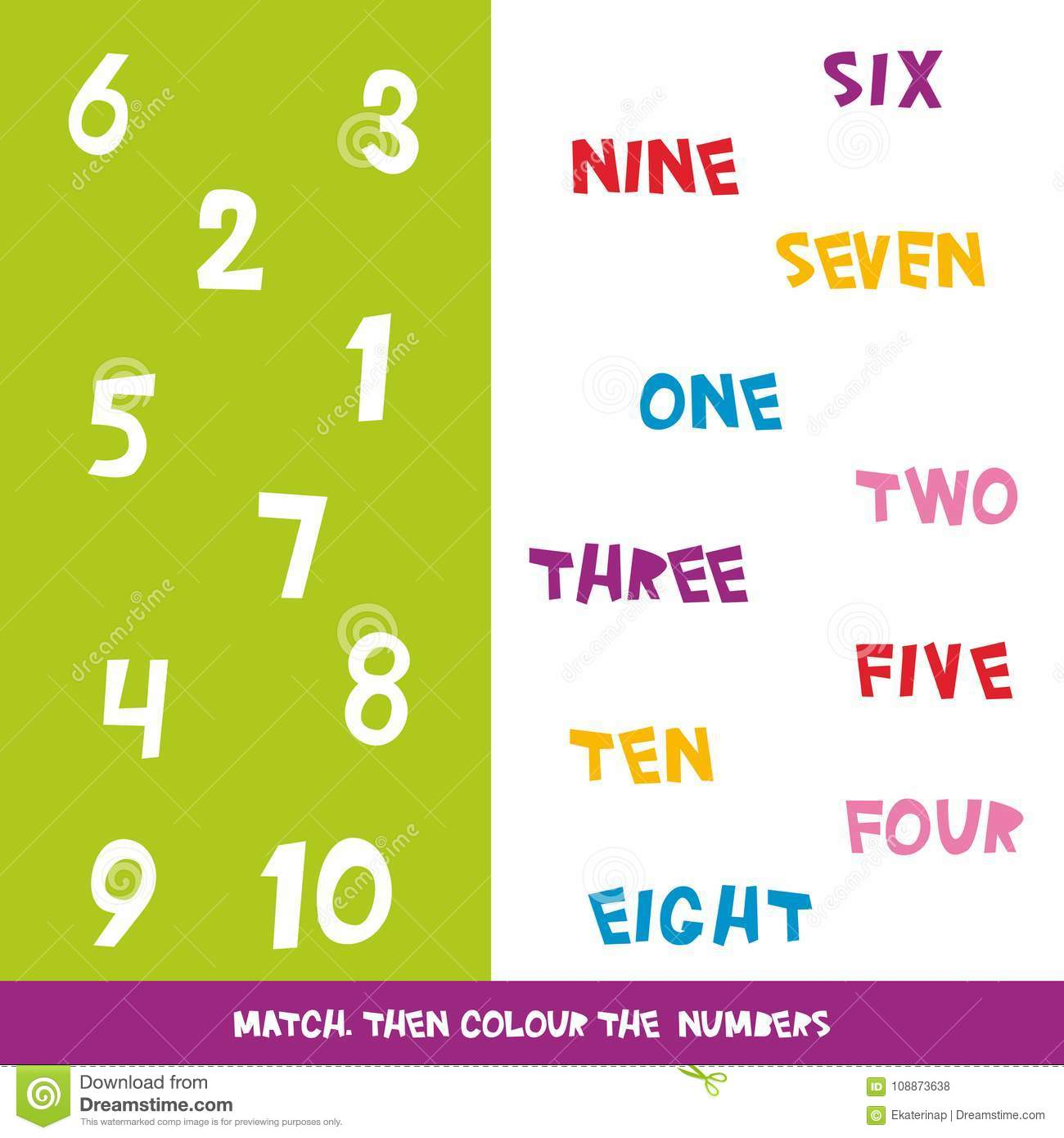 Match Then Colour The Numbers 1 To 10 Kids Words Learning