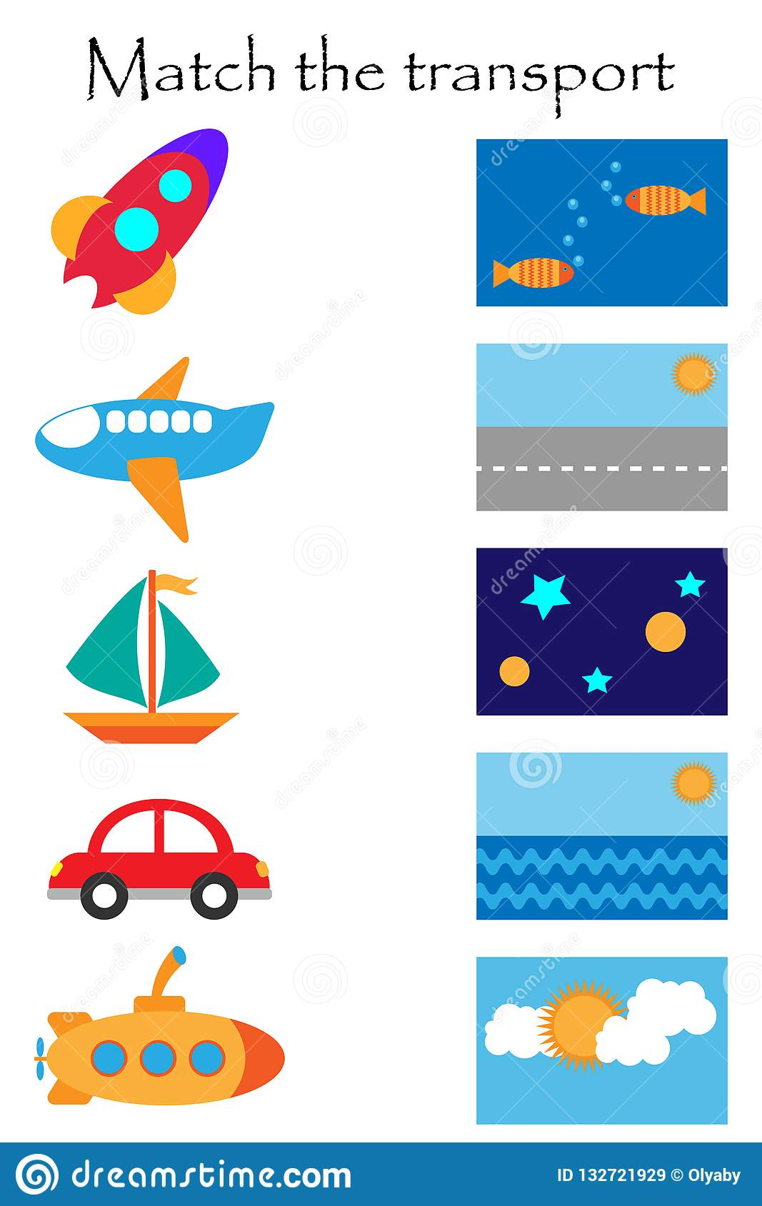 Match The Transport And Where It Flyes And Goes Fun