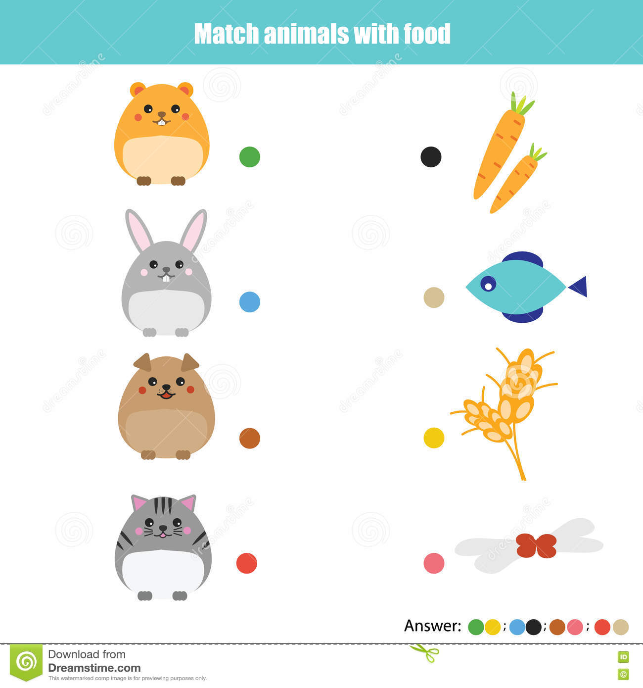 Matching Children Education Game Kids Activity Match Animals With Food Stock Vector