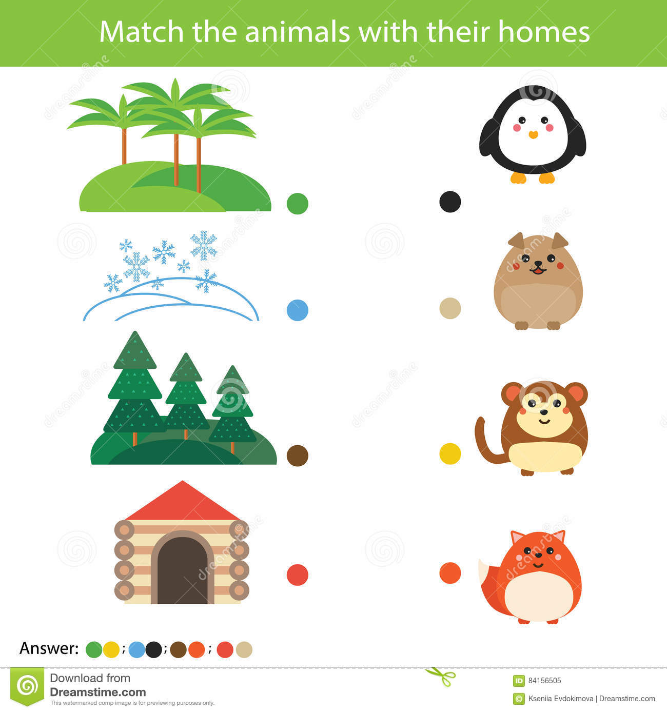 Matching Children Education Game Match Animals With Their Homes Stock Vector