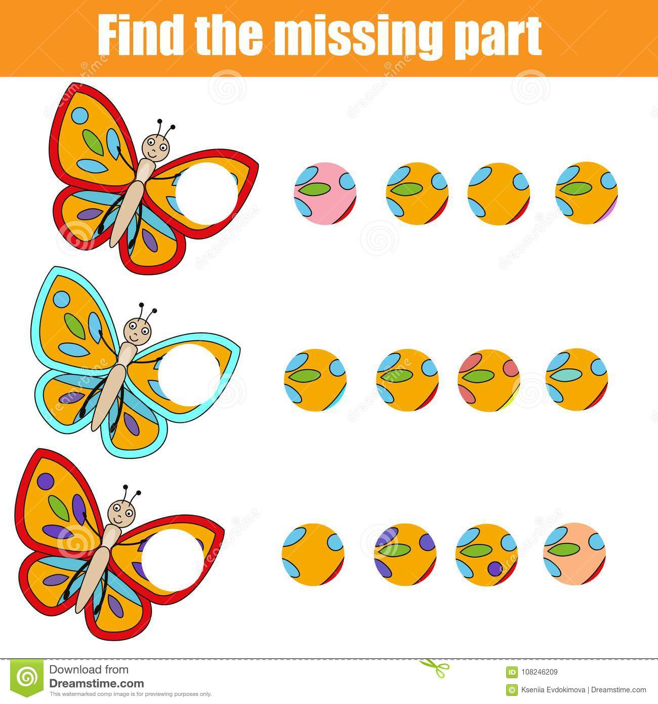Matching Children Educational Game Find Missing Part