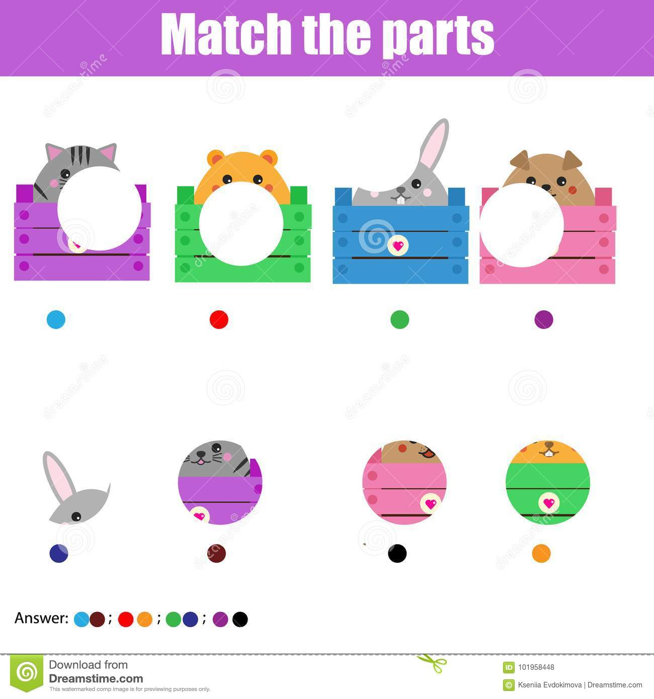 Matching Children Educational Game Kids Activity Match Animals Parts Stock Vector