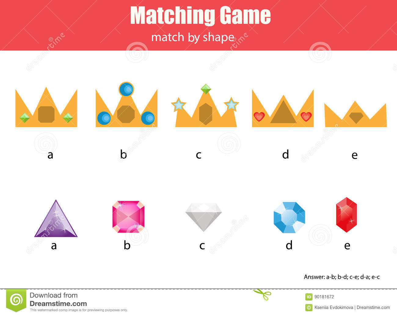 Matching Children Educational Game Match Crowns And