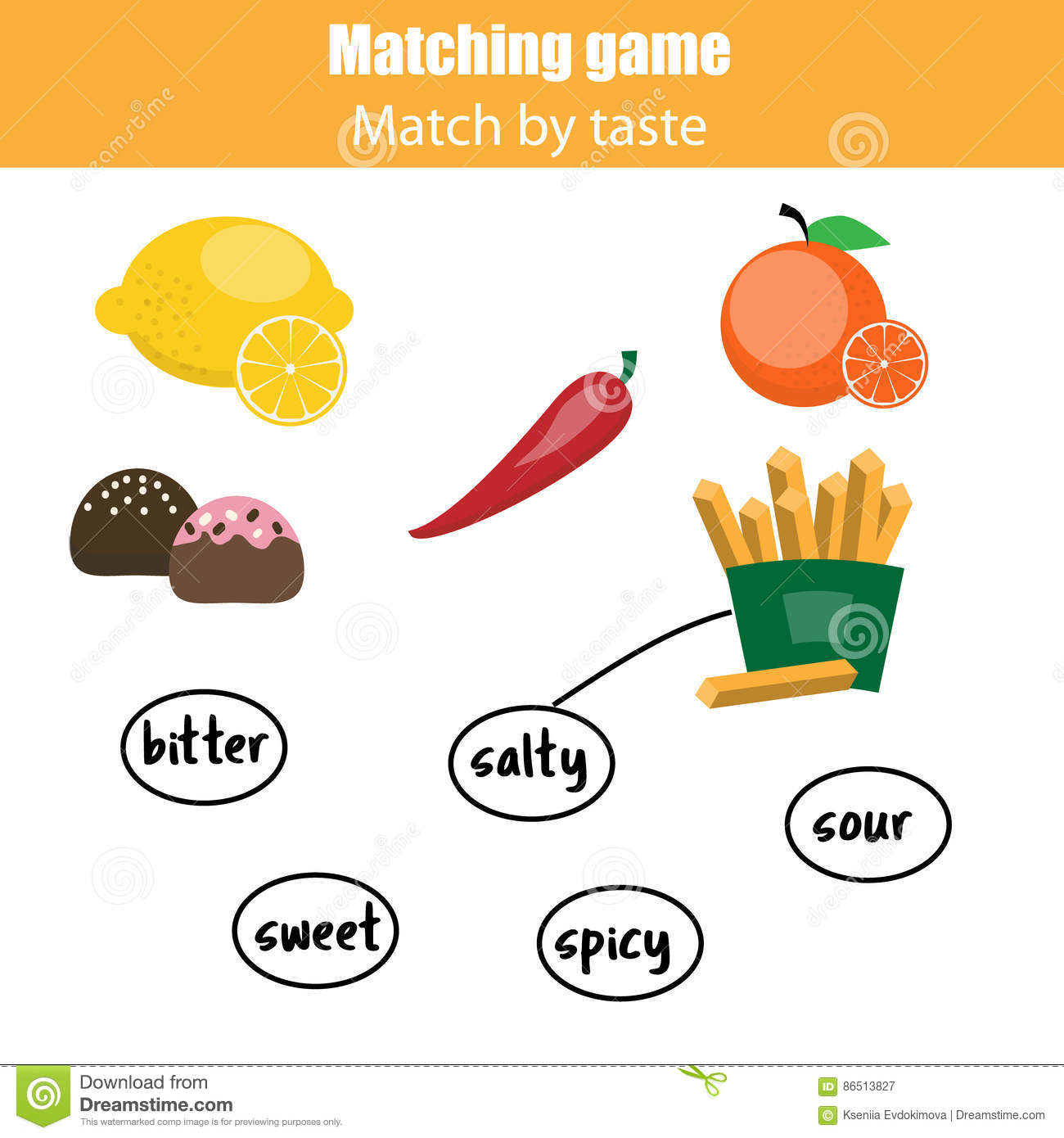 Matching Children Educational Game Match Food By Taste