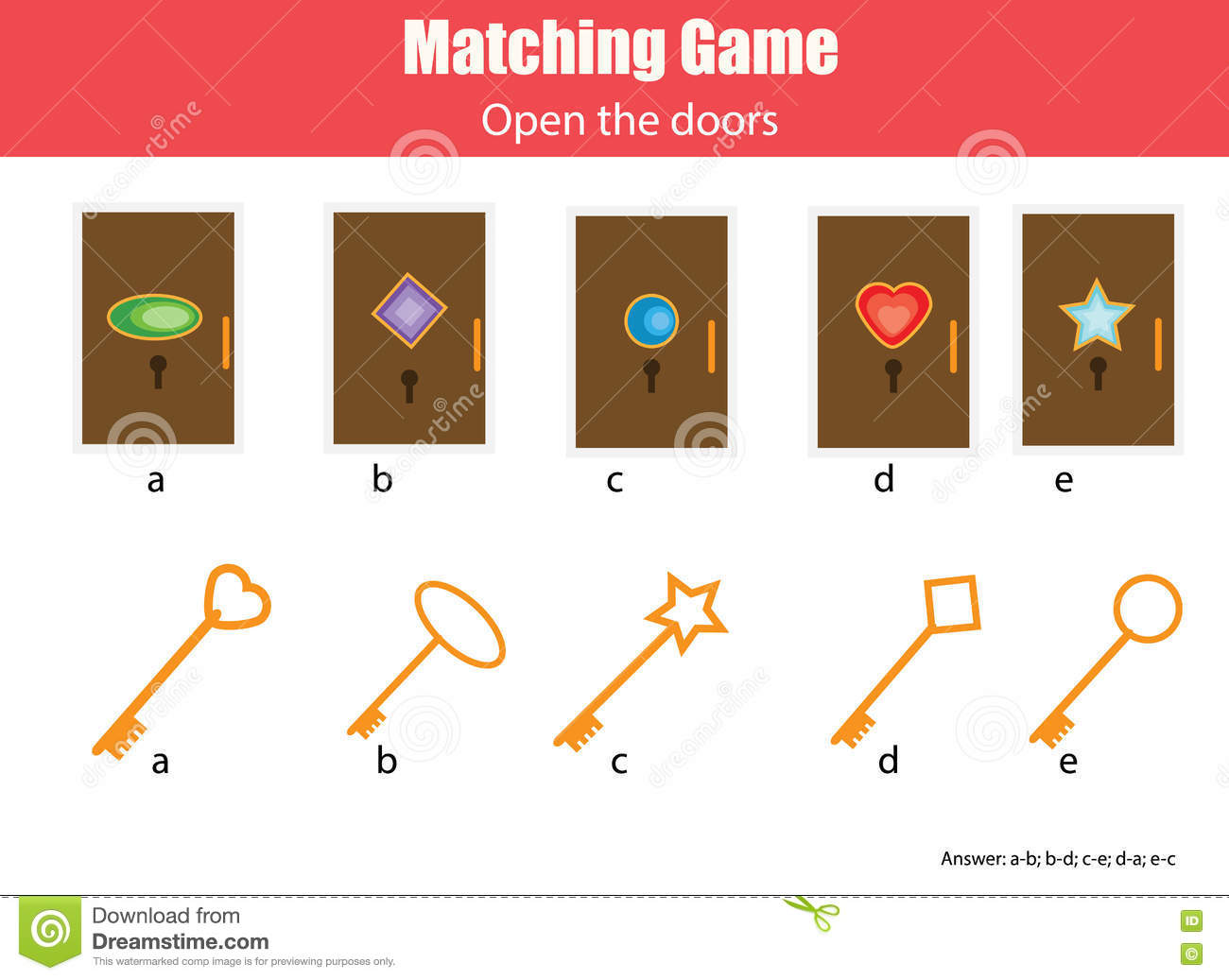 Matching Children Educational Game Match Keys And Doors