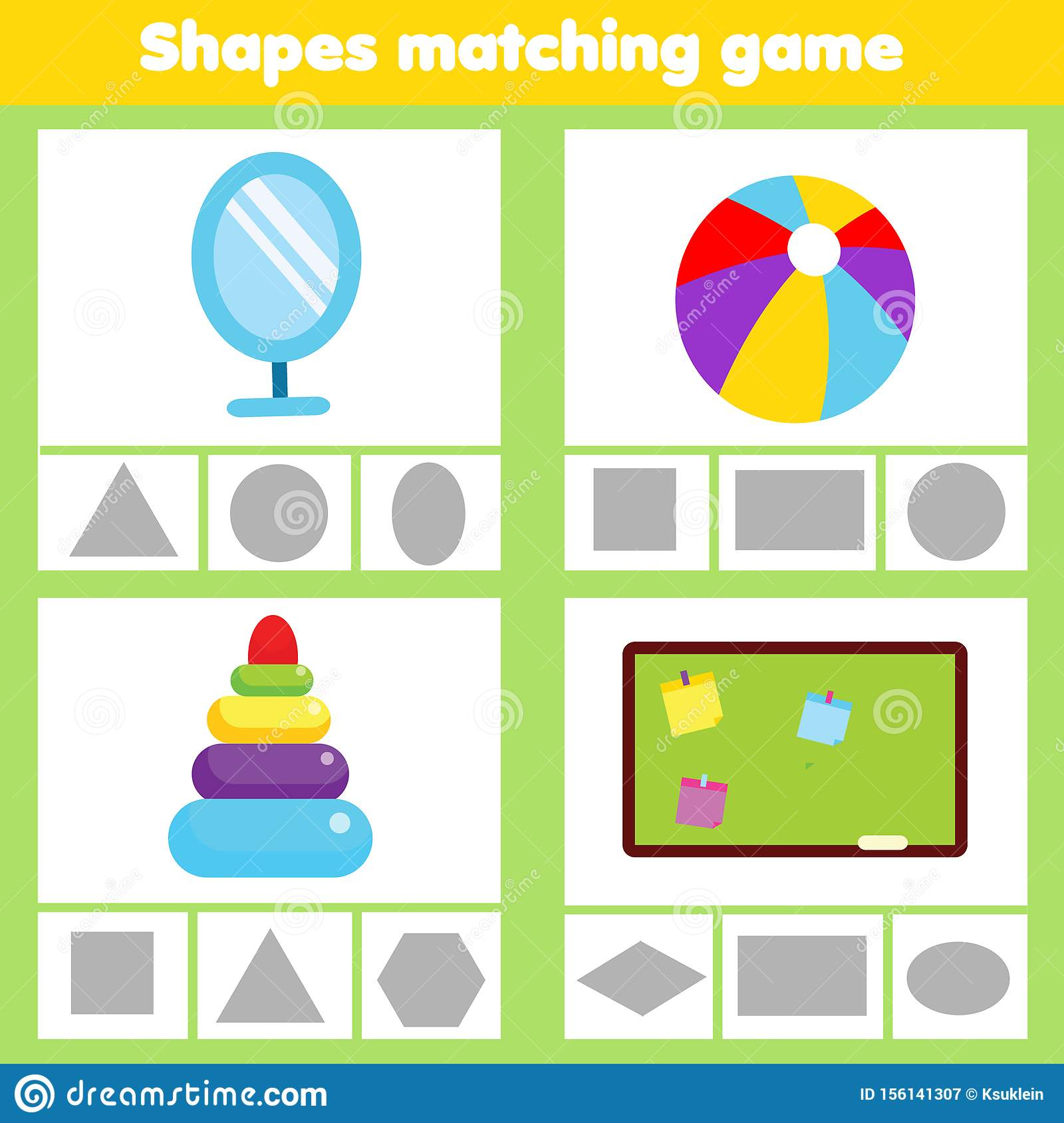 Matching Children Educational Game Match Objects Wtih