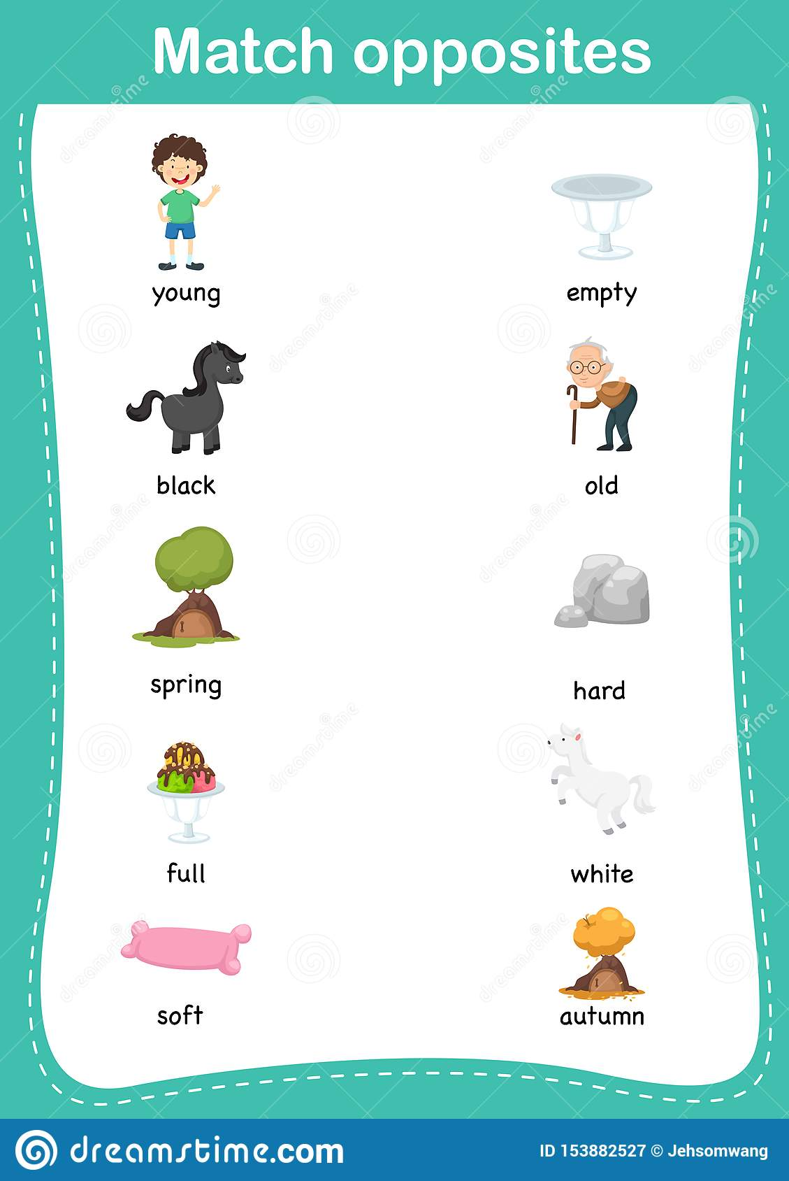 Matching Children Educational Game Match Of Opposites