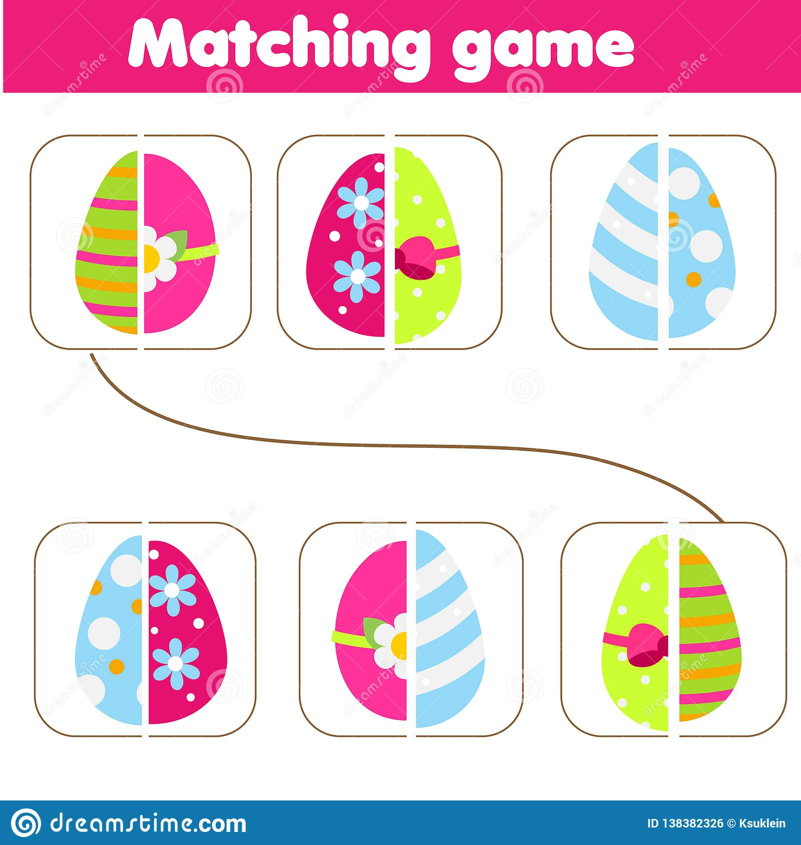 Matching Children Educational Game Match Parts Of Easter