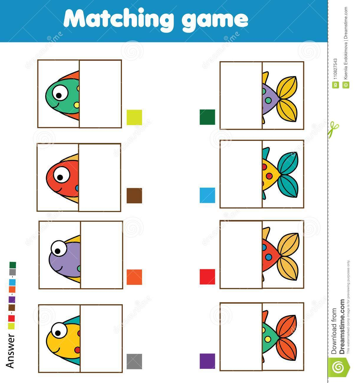 Color Matching Fish Worksheet