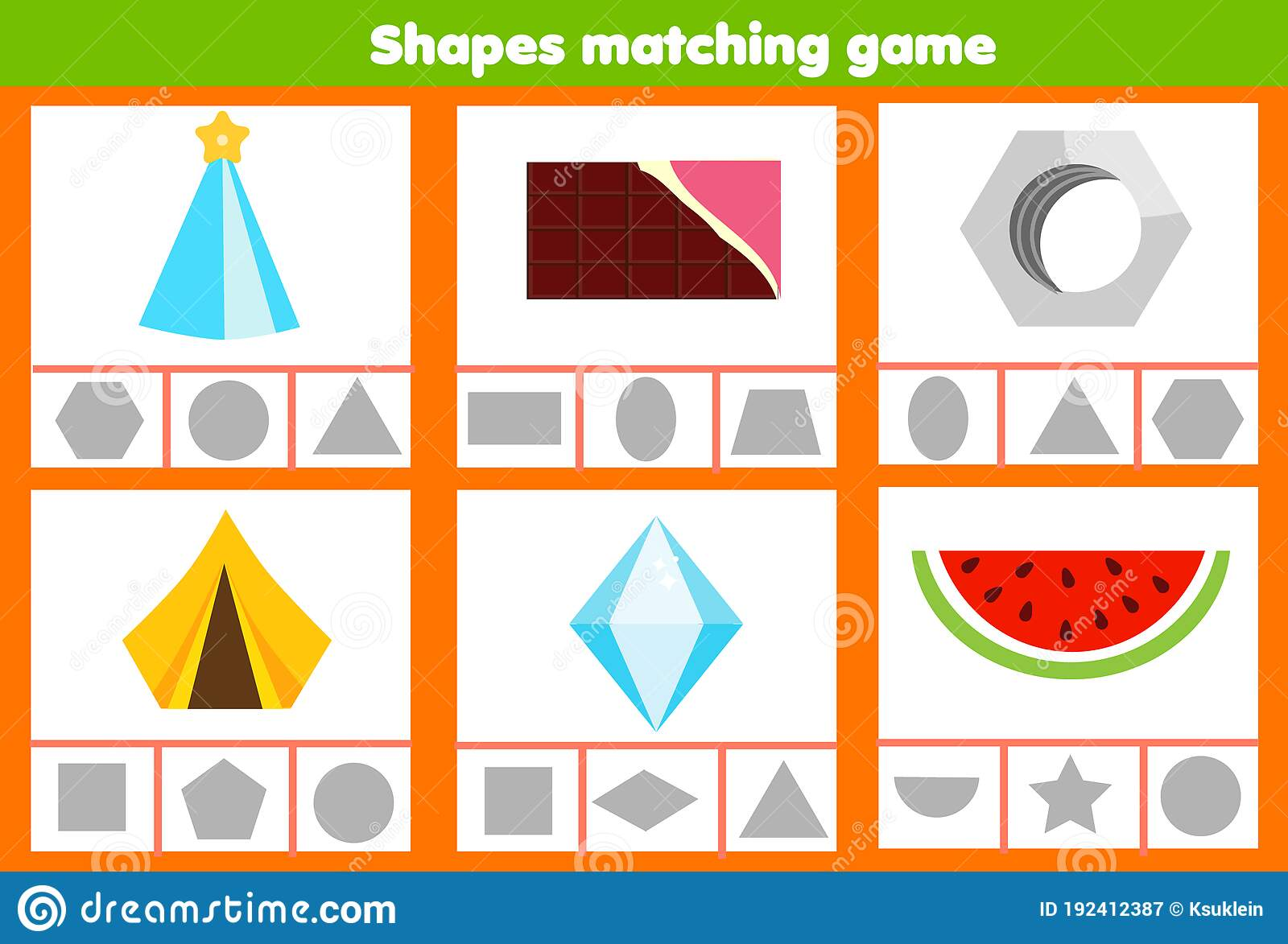 Matching Children Educational Game Match Real Life