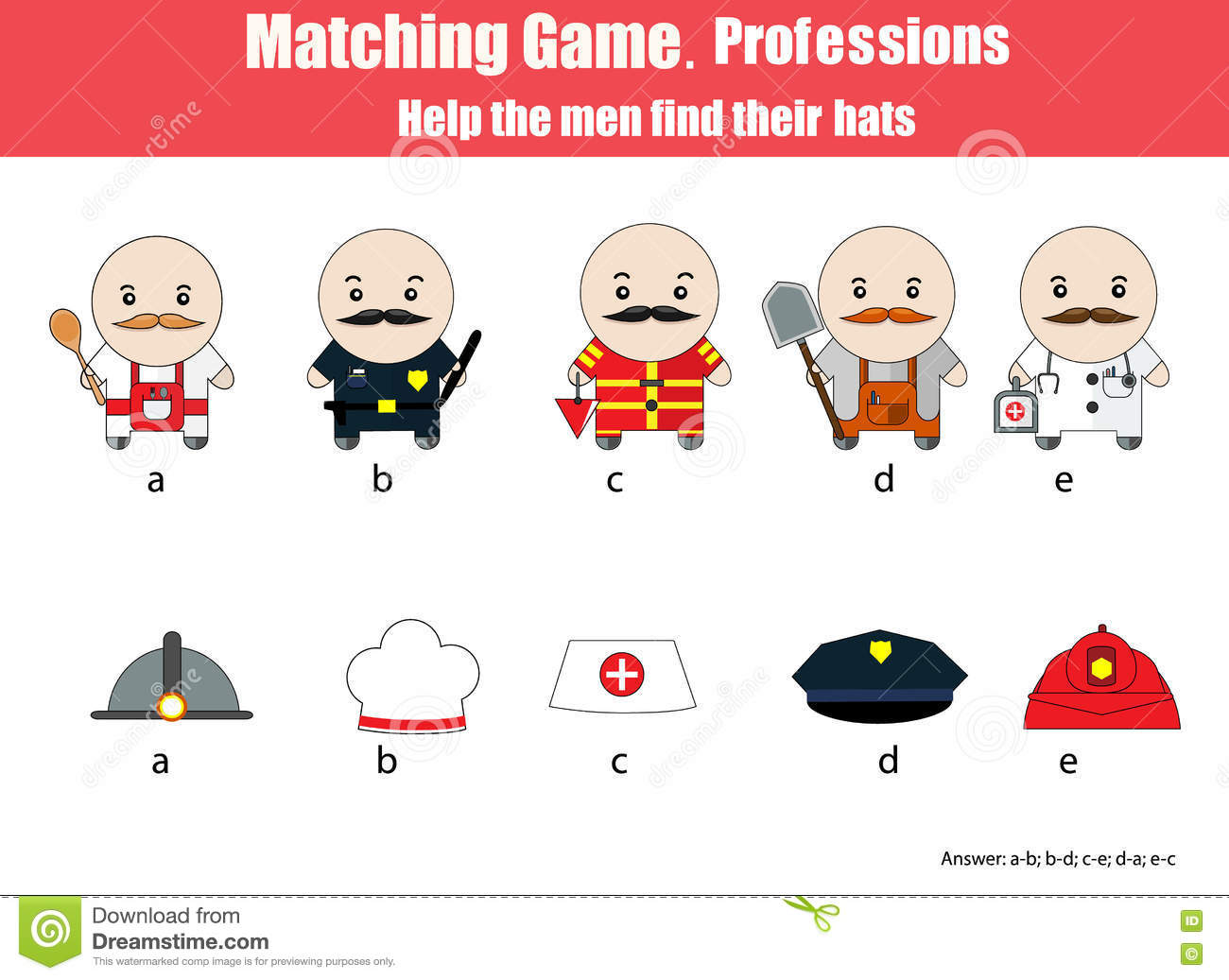 Matching Children Educational Game Professions Theme Stock Vector