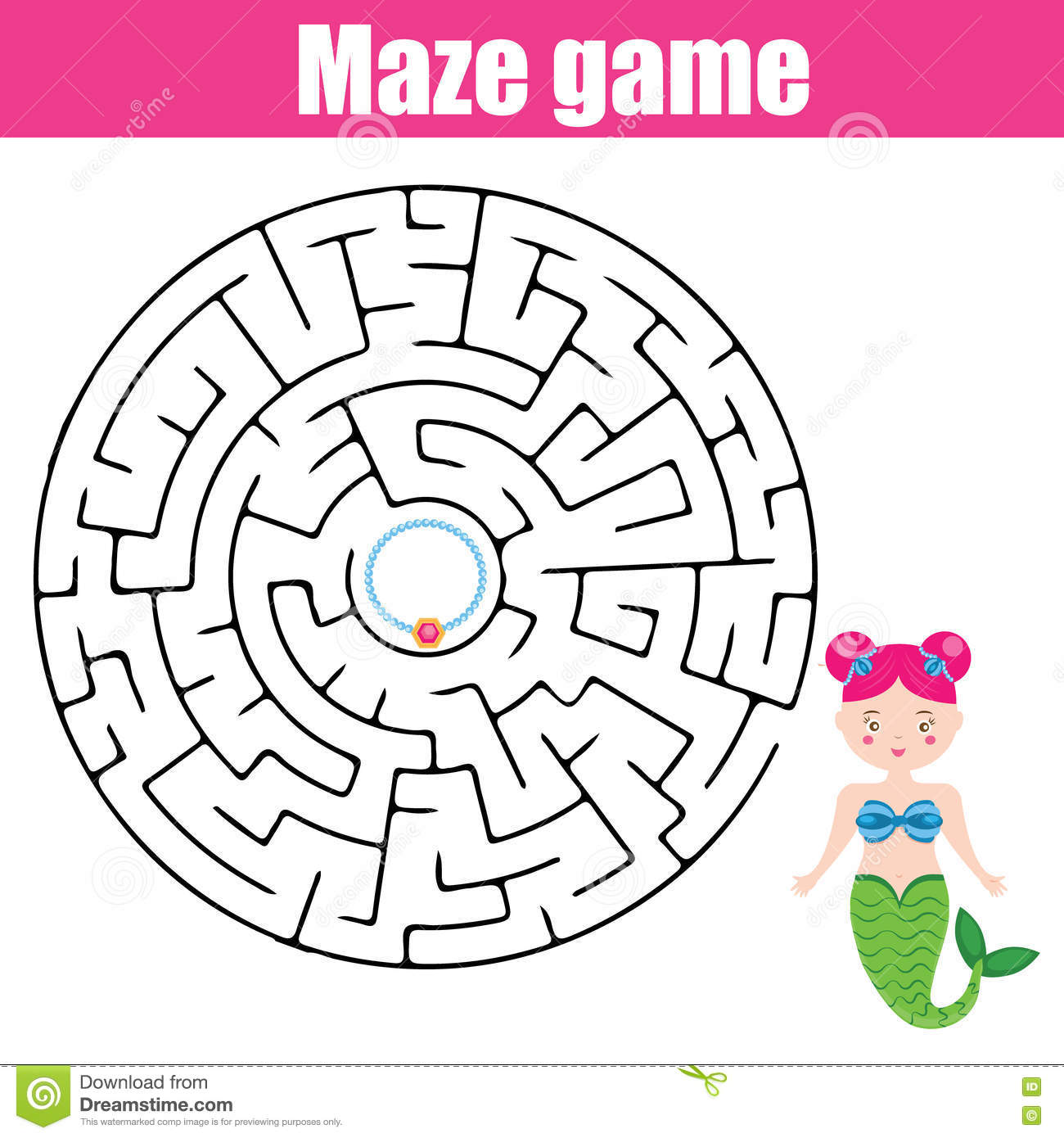 Maze Game Fairytales Theme Stock Vector