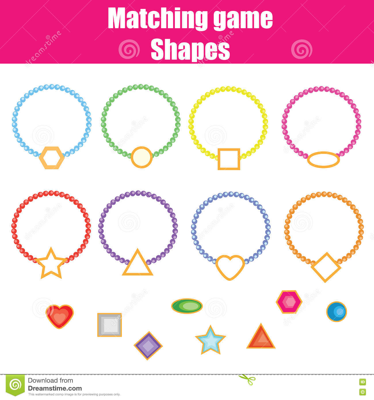 Matching Children Educational Game Shapes Stock Vector