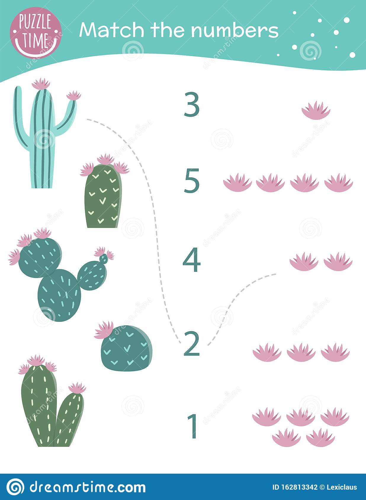 Matching Game With Cactus And Flowers Exotic Tropical Or