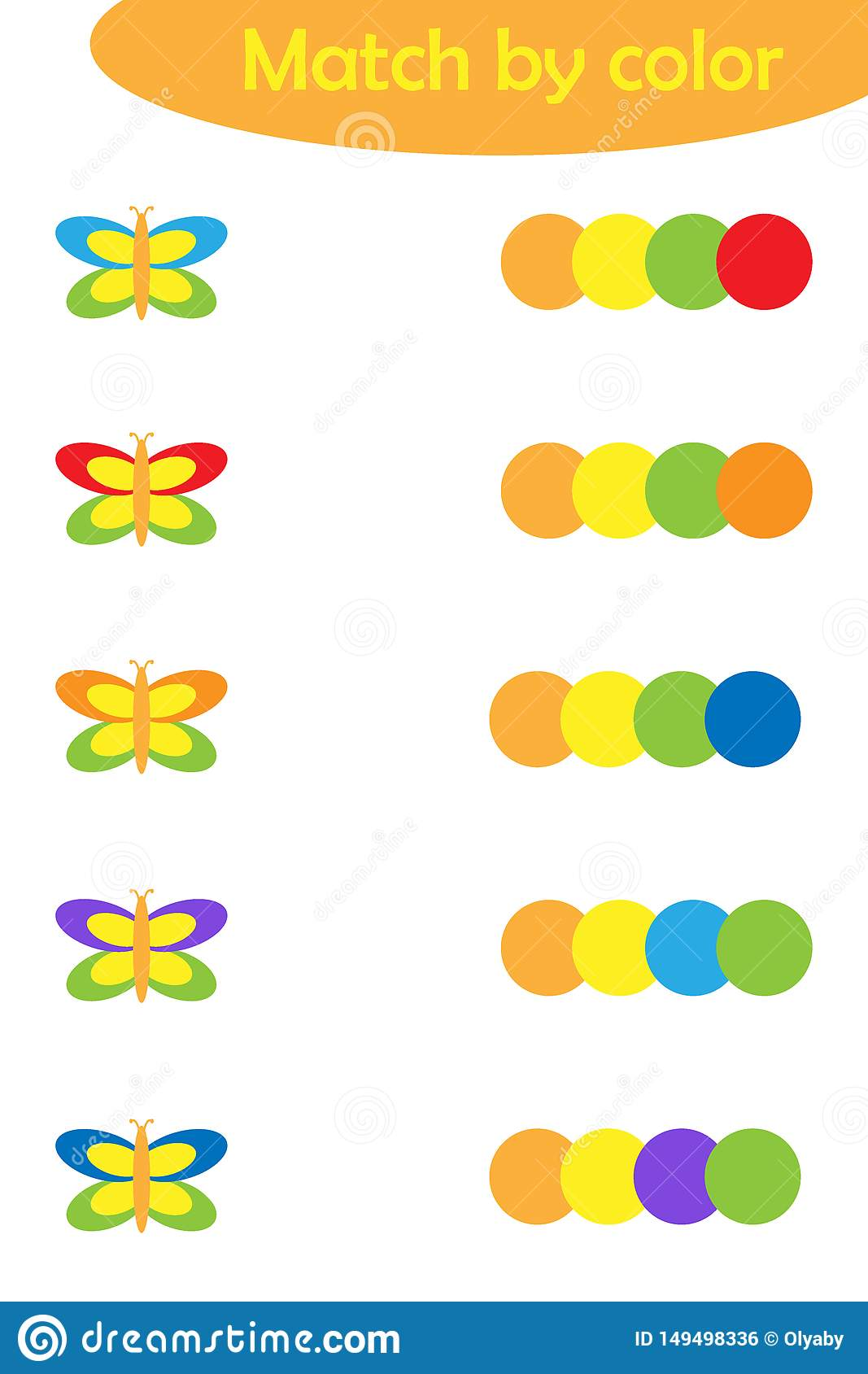 Matching Game For Children Connect Colorful Butterflies