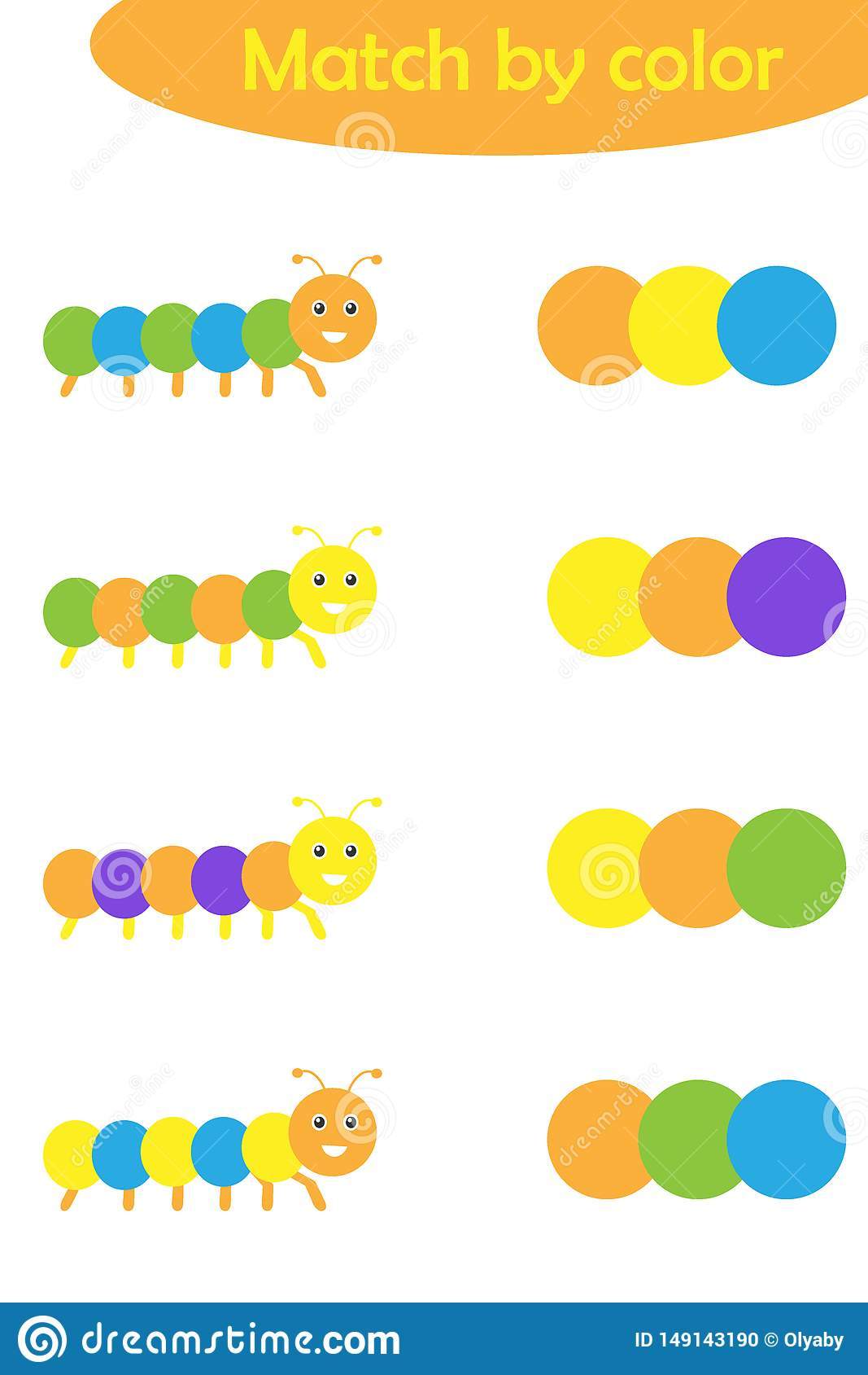 Matching Game For Children Connect Colorful Caterpillars