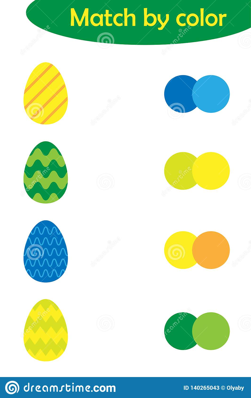 Matching Game For Children Connect Colorful Easter Eggs