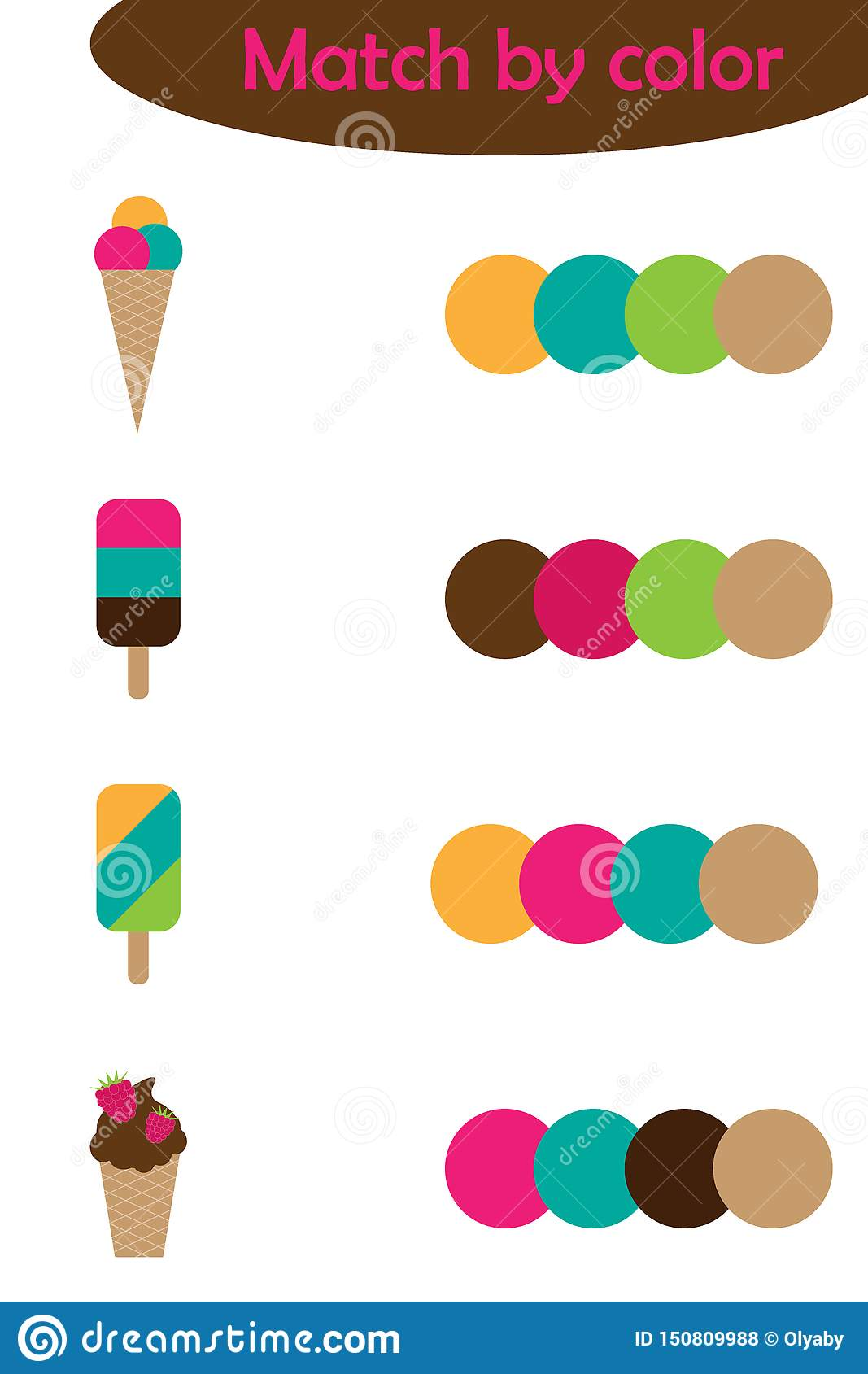 Matching Game For Children Connect Colorful Ice Cream