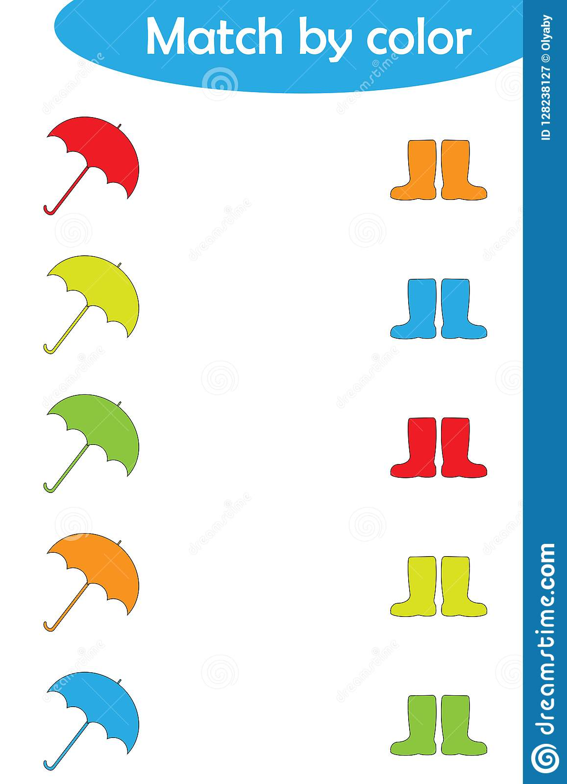 Matching Game For Children Connect Umbrellas And Boots By