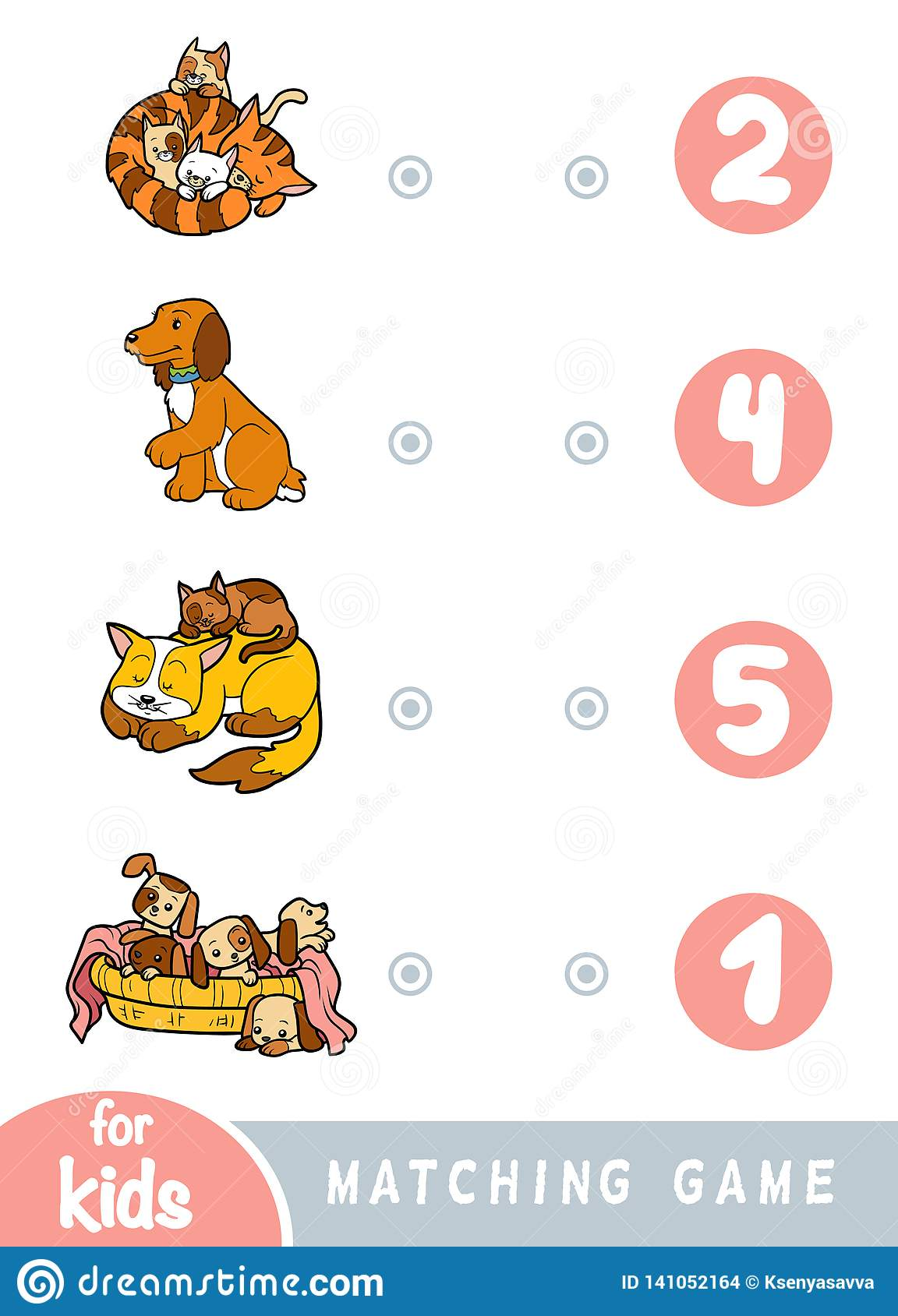 Count The Dogs Game Vector Illustration