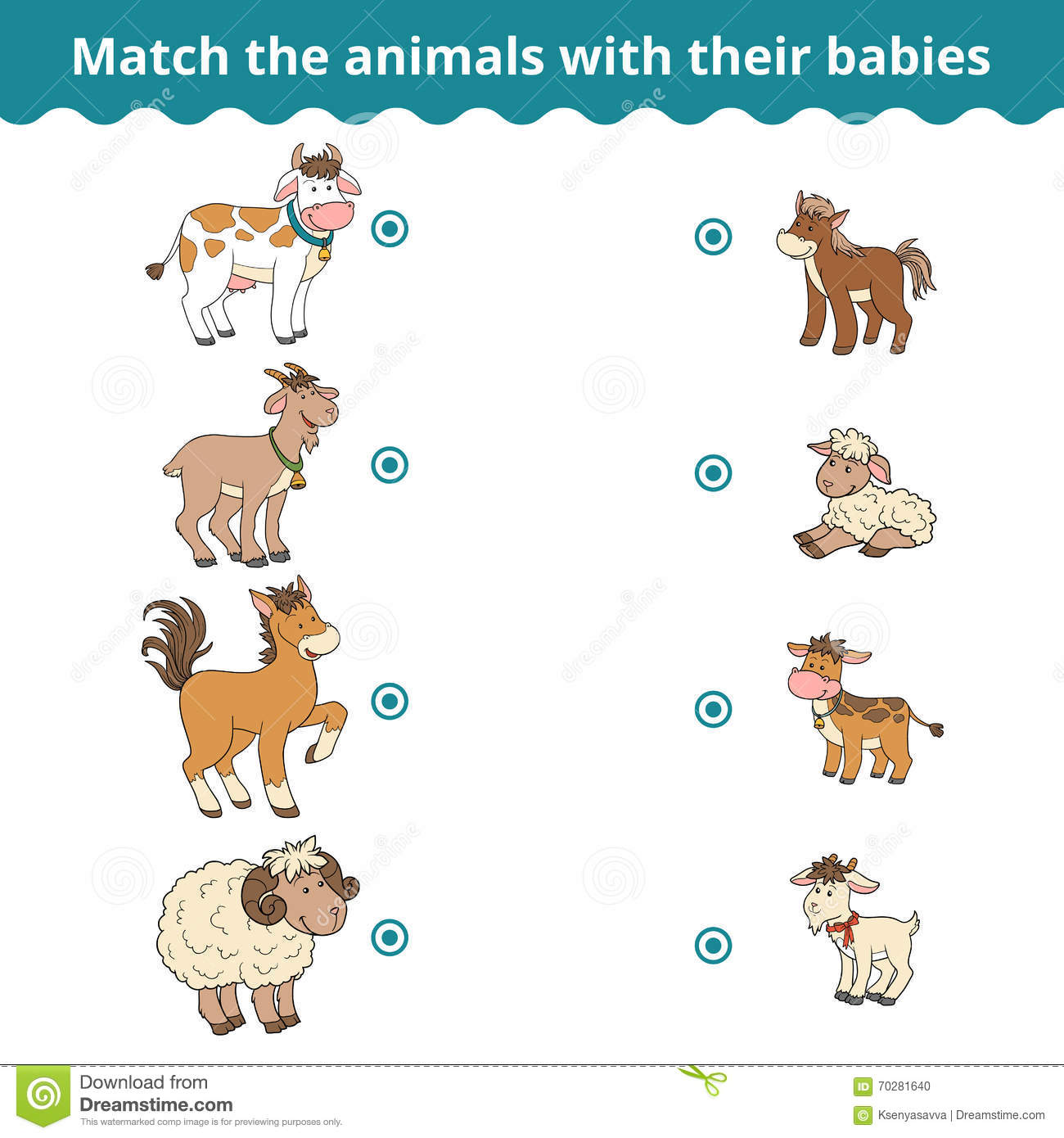 Matching Game For Children Farm Animals And Babies Stock