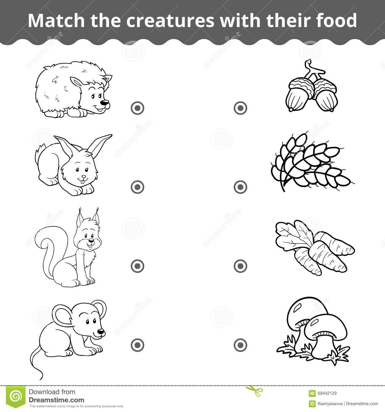 Matching Game For Children Forest Animals And Favorite Food Stock Vector