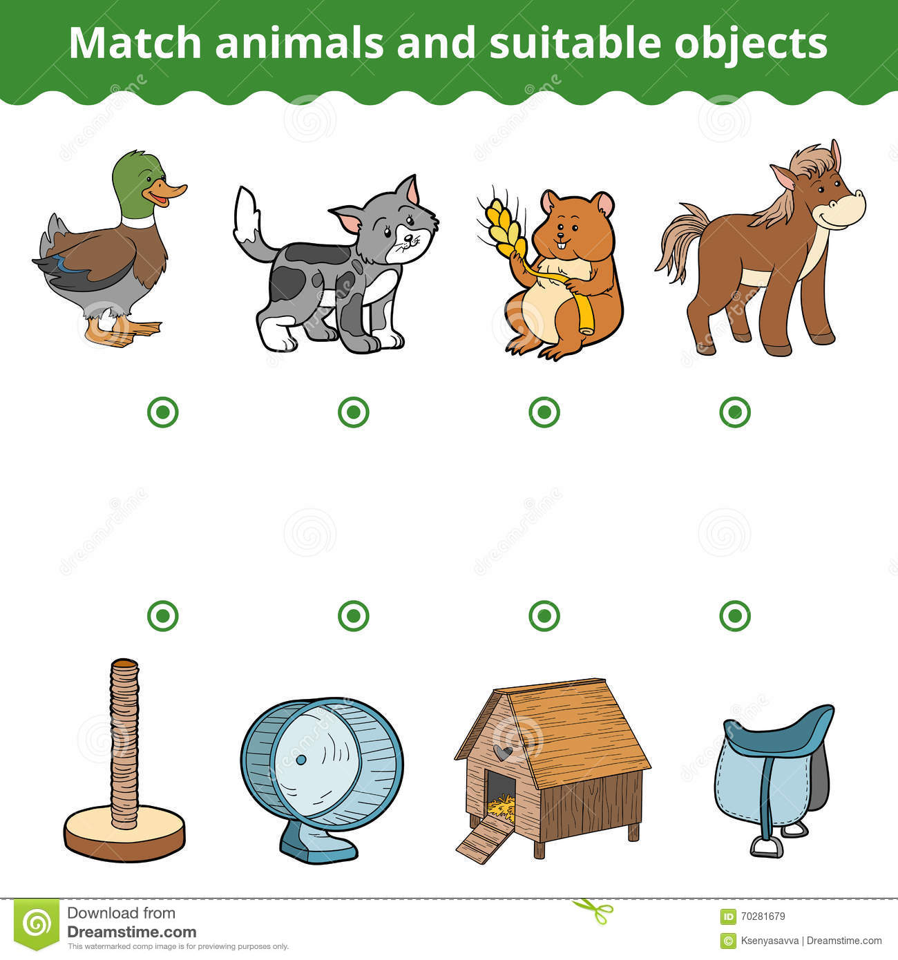 Matching Game For Children Match Animals And Suitable Objects Stock Vector