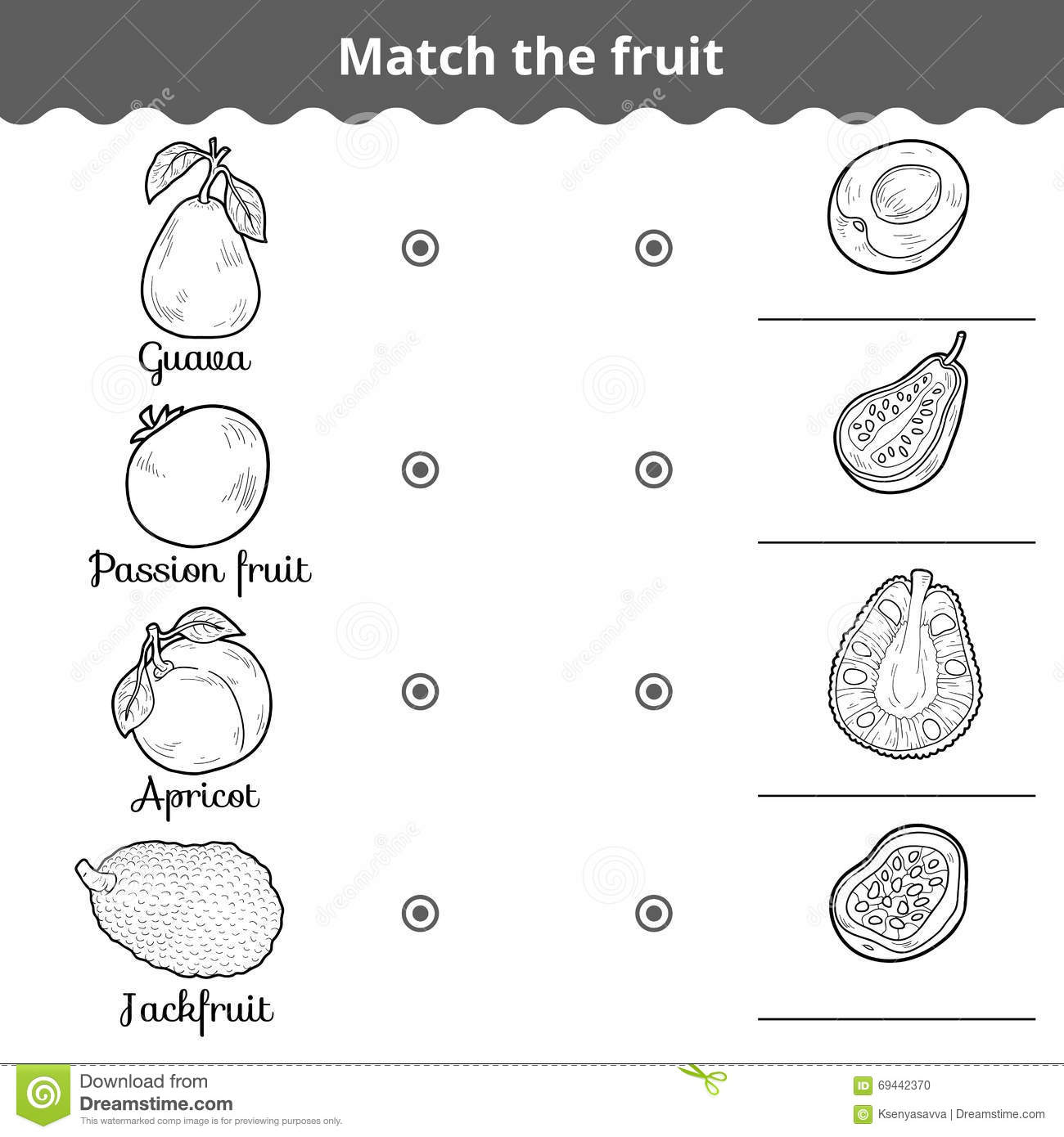 Matching Game For Children Match The Fruits Stock Vector