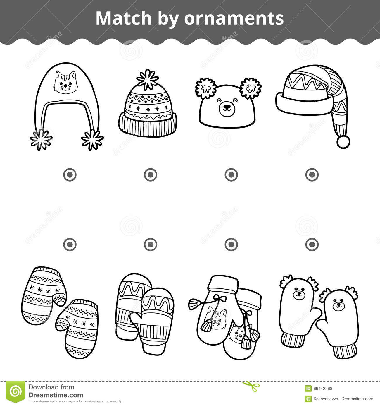 Matching Game For Children Match The Mitten And Hats By