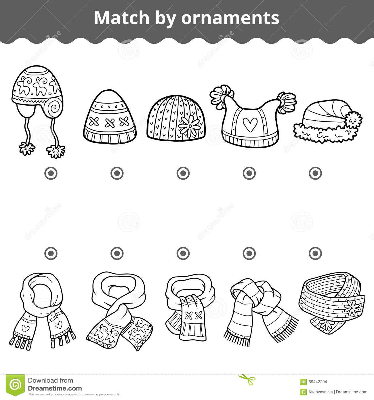 Matching Game For Children Match The Scarves And Hats By