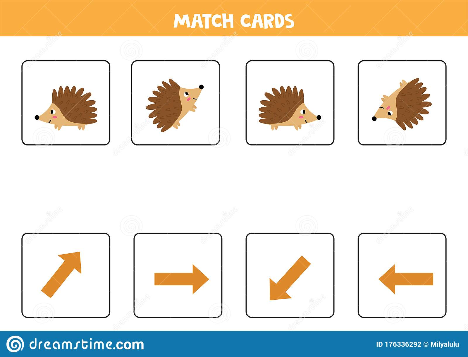 Matching Game For Kids Match Orientation And Hedgehog